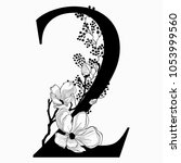 vector hand drawn floral number ... | Shutterstock .eps vector #1053999560