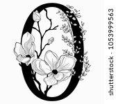 vector hand drawn floral zerro...   Shutterstock .eps vector #1053999563