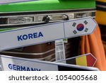 travel bag with korea lable | Shutterstock . vector #1054005668