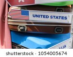 travel bag with united states... | Shutterstock . vector #1054005674