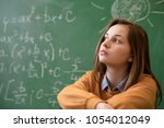 teenager girl in math class... | Shutterstock . vector #1054012049