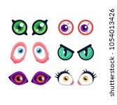 cartoon monster eyes. comic...   Shutterstock .eps vector #1054013426