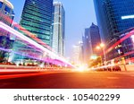 the light trails on the modern... | Shutterstock . vector #105402299