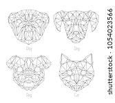 set of isolated  poligonal... | Shutterstock .eps vector #1054023566