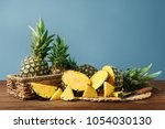 composition with fresh ripe... | Shutterstock . vector #1054030130