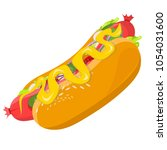 delicious hot dog. fast food.... | Shutterstock .eps vector #1054031600