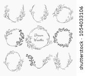 Stock vector set of black doodle hand drawn decorative outlined wreaths with branches herbs plants leaves 1054033106