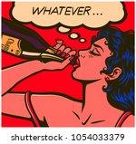 pop art comic book careless... | Shutterstock .eps vector #1054033379