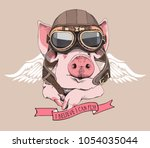 funny pig in a retro leather... | Shutterstock .eps vector #1054035044