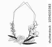 black vector floristic frame... | Shutterstock .eps vector #1054035383