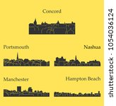 set of 5 city silhouette in new ... | Shutterstock .eps vector #1054036124