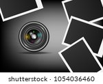 camera lens dslr and instant...   Shutterstock .eps vector #1054036460