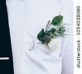 green and white wedding... | Shutterstock . vector #1054038080