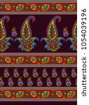 seamless paisley border   Shutterstock . vector #1054039196