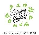 happy easter lettering...   Shutterstock .eps vector #1054041563