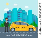machine yellow cab with driver...   Shutterstock .eps vector #1054043459
