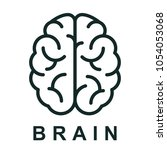 human brain icon with neural... | Shutterstock .eps vector #1054053068