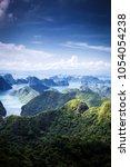 scenic view over ha long bay...   Shutterstock . vector #1054054238