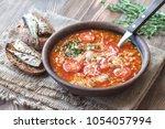 portion of green lentil tomato...   Shutterstock . vector #1054057994
