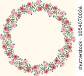 floral round frames from cute... | Shutterstock . vector #1054070036