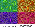 set of the seamless patterns of ... | Shutterstock .eps vector #1054070840