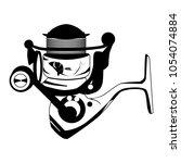 fishing reel black template.... | Shutterstock .eps vector #1054074884