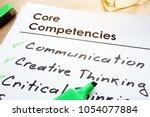 core competencies list on a... | Shutterstock . vector #1054077884