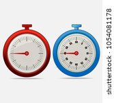 red and blue realistic timers... | Shutterstock .eps vector #1054081178