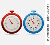 red and blue realistic timers... | Shutterstock .eps vector #1054081454
