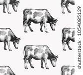 seamless farm vector pattern.... | Shutterstock .eps vector #1054085129
