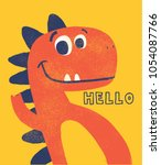 cute dinosaur drawn as vector... | Shutterstock .eps vector #1054087766