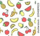 seamless pattern of  fruit  ... | Shutterstock .eps vector #1054089023