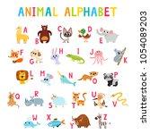 cute cartoon animals alphabet... | Shutterstock .eps vector #1054089203