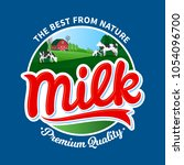 vector milk logo with cows and... | Shutterstock .eps vector #1054096700