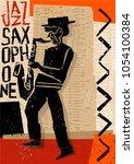 creative vector jazz saxophone...   Shutterstock .eps vector #1054100384