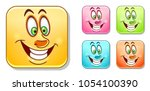 happy cheerful emoji face.... | Shutterstock .eps vector #1054100390