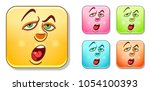 tired and bored emoji face.... | Shutterstock .eps vector #1054100393