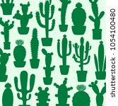 vector cactus silhouettes... | Shutterstock .eps vector #1054100480