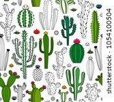 vector home cactus seamless... | Shutterstock .eps vector #1054100504