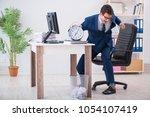 businessman employee in urgency ... | Shutterstock . vector #1054107419