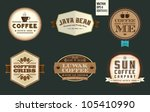 vintage coffee labels   badges | Shutterstock .eps vector #105410990