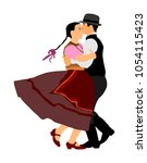 hungarian folk dancers couple... | Shutterstock .eps vector #1054115423
