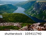 A view of a meandering river from the summit of Gros Morne mountain in Gros Morne National Park, Newfoundland