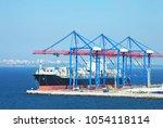 port cargo crane  ship and... | Shutterstock . vector #1054118114
