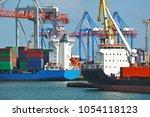 port cargo crane  ship and...   Shutterstock . vector #1054118123