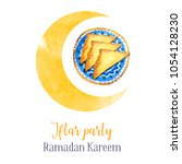iftar party celebration... | Shutterstock . vector #1054128230