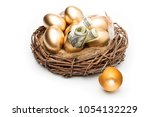 Nest With Golden Eggs On A...