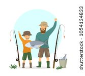 happy excited father and son... | Shutterstock .eps vector #1054134833