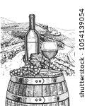 vector illustration of a wine...   Shutterstock .eps vector #1054139054