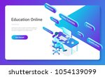 flat isometric education online ... | Shutterstock .eps vector #1054139099